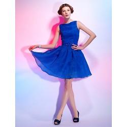 Cocktail Party Dress Royal Blue Plus Sizes Petite A Line Princess Bateau Short Mini Organza