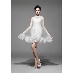 Dress Ivory Petite Sheath Column Bateau Short Mini Lace