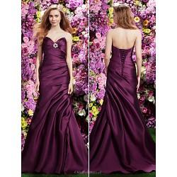 Formal Evening Dress - Grape Trumpet/Mermaid Sweetheart Sweep/Brush Train Satin