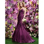 TS Couture Formal Evening Dress - Grape Trumpet/Mermaid Sweetheart Sweep/Brush Train Satin Special Occasion Dresses