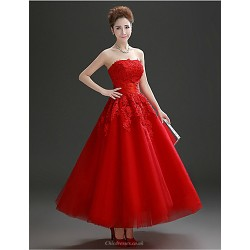 Formal Evening Dress Ruby Plus Sizes A Line Strapless Ankle Length Tulle