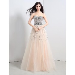 Formal Evening Dress Champagne Petite A Line Strapless Floor Length Tulle Sequined