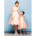 Cocktail Party Dress - Pearl Pink Plus Sizes / Petite Ball Gown Straps Knee-length Organza / Tulle Special Occasion Dresses