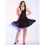 Cocktail Party / Holiday / Homecoming Dress - Black Plus Sizes / Petite A-line V-neck Asymmetrical Lace Special Occasion Dresses