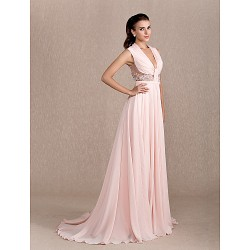 Formal Evening Dress Pearl Pink Plus Sizes Petite A Line Princess Cowl Court Train Chiffon