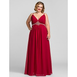 Formal Evening / Prom / Military Ball Dress - Ruby Plus Sizes / Petite A-line V-neck Floor-length Chiffon