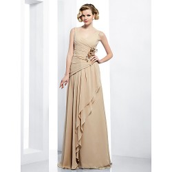 Formal Evening / Military Ball Dress - Champagne Plus Sizes / Petite Sheath/Column V-neck Floor-length Chiffon