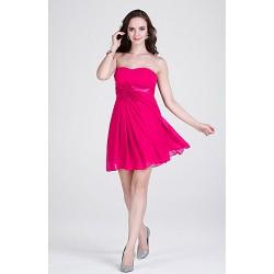 Short/Mini Chiffon Bridesmaid Dress - Fuchsia / Ruby / Burgundy / Silver / Black / Pool / Royal Blue / Grape Sheath/Column Strapless