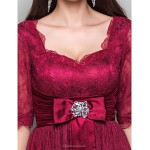 TS Couture Cocktail Party Dress - Burgundy Plus Sizes / Petite A-line / Princess Sweetheart Knee-length Lace / Stretch Satin Special Occasion Dresses