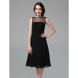 Cocktail Party / Holiday Dress - Black Plus Sizes / Petite A-line / Princess Bateau Knee-length Chiffon / Tulle