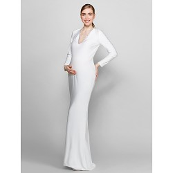 Formal Evening Dress Ivory Plus Sizes Petite Sheath Column V Neck Floor Length Knit