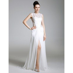 Formal Evening Dress White Plus Sizes Petite Sheath Column Jewel Sweep Brush Train Chiffon Lace
