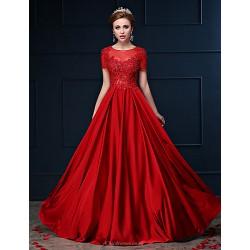 Dress Ruby A Line Jewel Floor Length Lace Charmeuse