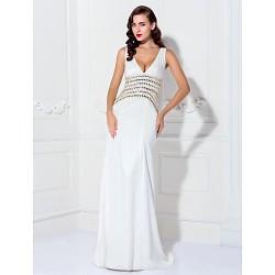 Formal Evening Prom Military Ball Dress Ivory Plus Sizes Petite A Line V Neck Sweep Brush Train Stretch Satin