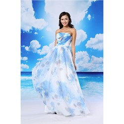 A-line Formal Evening Dress - Pool / White Floor-length Strapless Organza / Satin