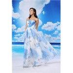 A-line Formal Evening Dress - Pool / White Floor-length Strapless Organza / Satin Special Occasion Dresses