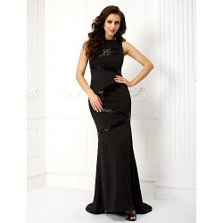 Formal Evening Dress - Black Trumpet/Mermaid Scoop Sweep/Brush Train Jersey