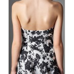 TS Couture Cocktail Party Dress - Print A-line Strapless Knee-length Satin Special Occasion Dresses