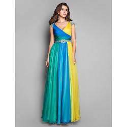 Formal Evening Prom Military Ball Dress Multi Color Plus Sizes Petite A Line Princess V Neck Floor Length Chiffon
