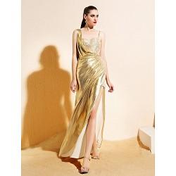 Formal Evening Dress Gold Sheath Column Sweetheart Ankle Length Jersey
