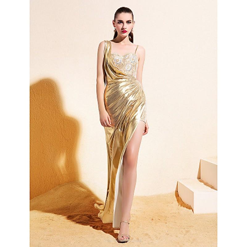 Ankle Length Gold Dress