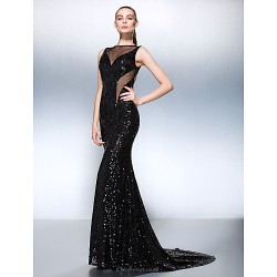 Formal Evening Dress - Black Plus Sizes / Petite Trumpet/Mermaid Jewel Court Train Sequined