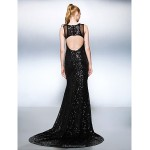 TS Couture Formal Evening Dress - Black Plus Sizes / Petite Trumpet/Mermaid Jewel Court Train Sequined Special Occasion Dresses