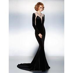 Formal Evening Dress Black Plus Sizes Petite Trumpet Mermaid Jewel Court Train Velvet