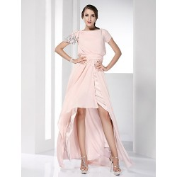Prom Formal Evening Dress Pearl Pink Plus Sizes Petite Sheath Column Bateau Floor Length Asymmetrical Chiffon