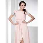 Prom / Formal Evening Dress - Pearl Pink Plus Sizes / Petite Sheath/Column Bateau Floor-length / Asymmetrical Chiffon Special Occasion Dresses