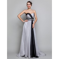 Formal Evening Military Ball Dress Silver Plus Sizes Petite A Line Sweetheart Floor Length Chiffon