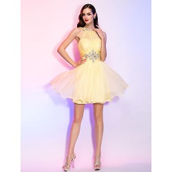 Cocktail Party Homecoming Holiday Dress Daffodil Plus Sizes Petite A Line Princess High Neck Short Mini Chiffon