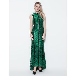 Formal Evening Dress Dark Green Plus Sizes Petite Sheath Column Jewel Floor Length Lace