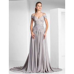 Formal Evening Dress Silver Plus Sizes Petite A Line Princess Off The Shoulder Spaghetti Straps Court Train Chiffon Charmeuse