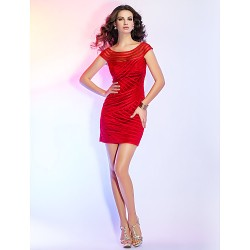 Cocktail Party Dress - Ruby Plus Sizes / Petite Sheath/Column Bateau Short/Mini Tulle