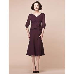 Sheath Column Plus Sizes Petite Mother Of The Bride Dress Grape Tea Length 3 4 Length Sleeve Chiffon