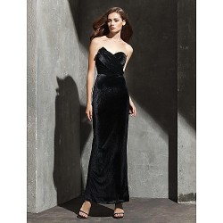 Formal Evening Dress - Black Plus Sizes / Petite Sheath/Column Strapless / Sweetheart Ankle-length Velvet