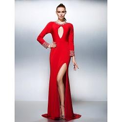 Formal Evening Dress Ruby Plus Sizes Petite A Line Jewel Court Train Jersey