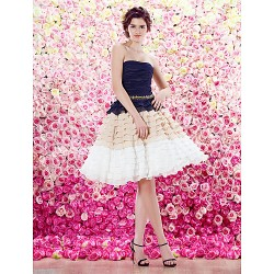Homecoming Cocktail Party Dress A Line Strapless Knee Length Chiffon