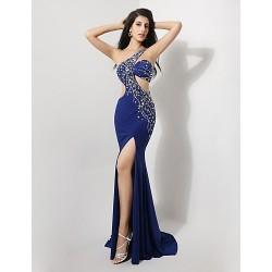 Formal Evening Dress - Royal Blue Trumpet/Mermaid One Shoulder Floor-length Spandex