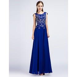 Formal Evening Dress - Pool Sheath/Column Jewel Floor-length Chiffon