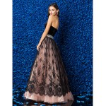 Formal Evening Dress - Multi-color Plus Sizes / Petite Ball Gown Strapless Floor-length Lace / Velvet Special Occasion Dresses
