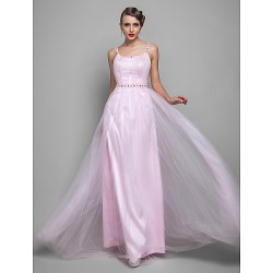 Formal Evening Prom Military Ball Dress Blushing Pink Plus Sizes Petite Sheath Column Straps Floor Length Tulle