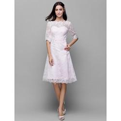 Knee Length Lace Satin Bridesmaid Dress Blushing Pink A Line Bateau