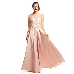 Formal Evening Dress Pearl Pink A Line Scoop Floor Length Taffeta Tulle