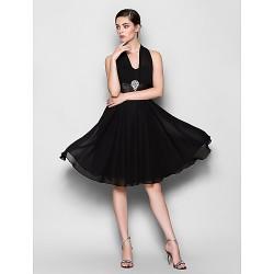 Knee-length Chiffon Bridesmaid Dress - Black Plus Sizes / Petite A-line Halter