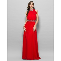 Prom Military Ball Formal Evening Dress Ruby Plus Sizes Petite A Line High Neck Floor Length Chiffon