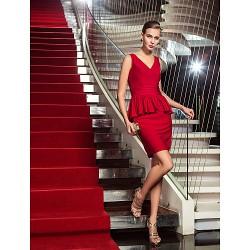 Cocktail Party / Holiday Dress - Ruby Plus Sizes / Petite Sheath/Column V-neck Short/Mini Jersey