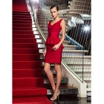 Cocktail Party / Holiday Dress - Ruby Plus Sizes / Petite Sheath/Column V-neck Short/Mini Jersey Special Occasion Dresses