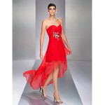 TS Couture Cocktail Party / Holiday Dress - Ruby Plus Sizes / Petite A-line Sweetheart Asymmetrical Chiffon Special Occasion Dresses